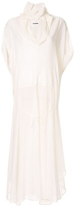 Jil Sander Ruffled Neck Long Dress