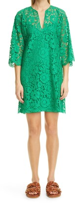 Valentino Bell Sleeve Lace Shift Dress