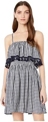 BB Dakota Hayride Gingham Dress (Dark Blue) Women's Dress
