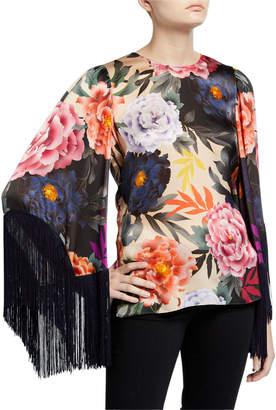 Kobi Halperin Desiree Floral Fringe-Sleeve Silk Blouse