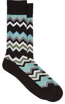 Paul Smith Men's Chevron-Knit Cotton-Blend Mid-Calf Socks