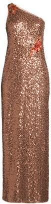 Aidan Mattox One Shoulder Shimmer Gown