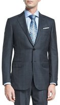 Ermenegildo Zegna Windowpane Silk-Blend Two-Piece Suit, Charcoal