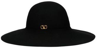 Valentino Large Logo Brim Fur Hat