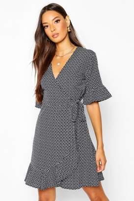boohoo Ditsy Heart Print Tea Dress