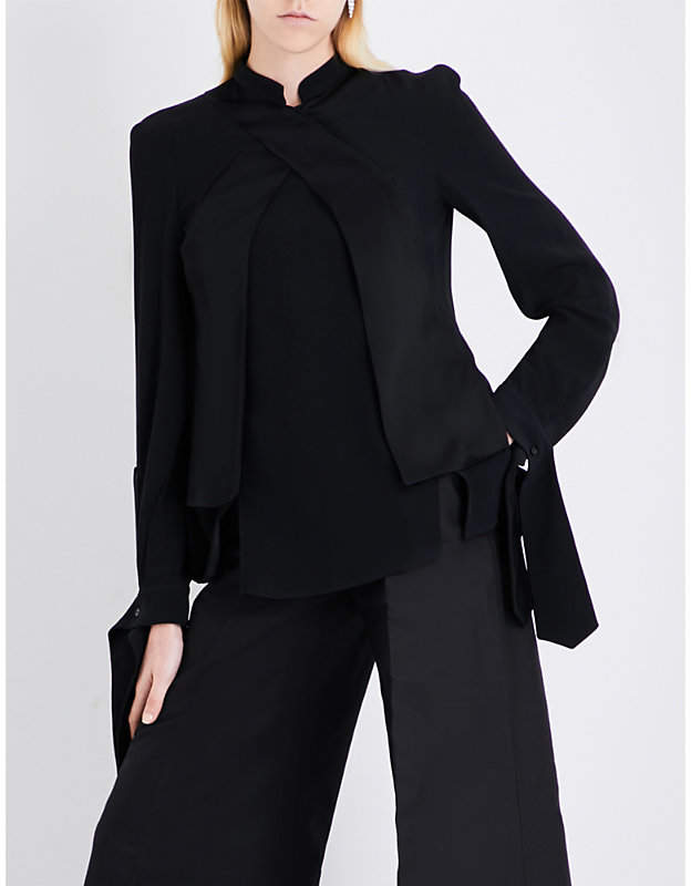 Antonio Berardi Satin-panel crepe shirt