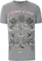 Roberto Cavalli striped eagle print T-shirt