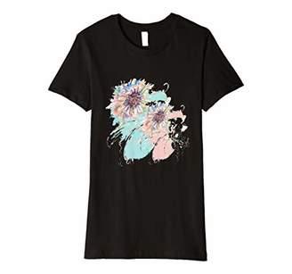 Womens Abstract Floral Spray Pretty Pastel Aqua Pinks Premium T-Shirt