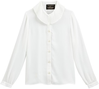 Vanessa Seward X La Redoute Collections Pleated Collar Blouse with Long Sleeves