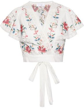 Zimmermann Laelia Cropped Embroidered Linen And Cotton-blend Wrap Top