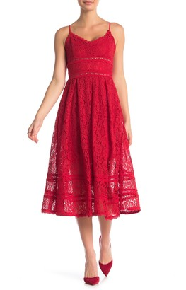 NSR Sleeveless Lace Midi Dress