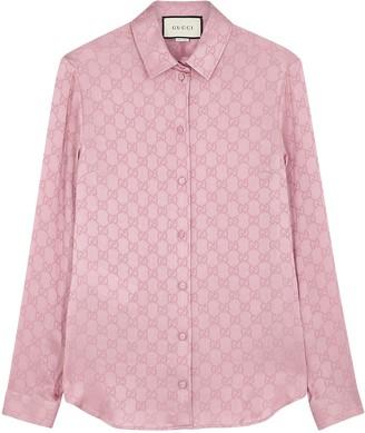 Gucci Pink GG-jacquard Silk Blouse