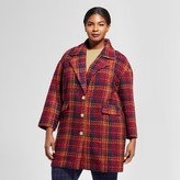A New Day Women's Plus Size Plaid Top Coat - A New Day Cherry