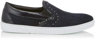 Jimmy Choo GROVE Navy Velvet Suede Slip On Trainers with Grey Pearl Trim