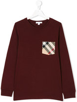 Burberry check pocket long sleeve T-shirt