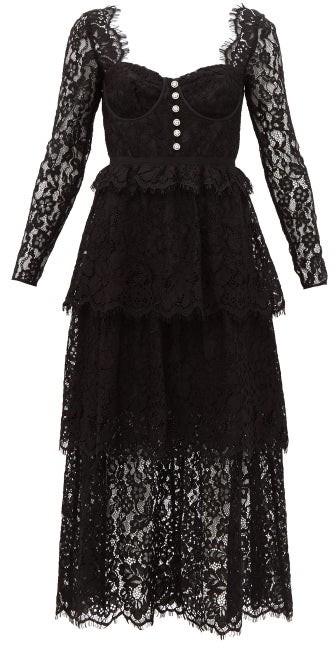 Self-Portrait Crystal-button Lace Midi Dress - Black