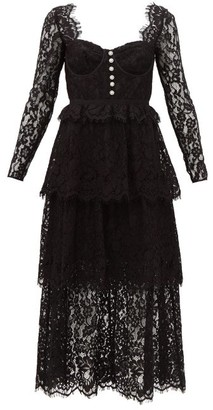 Self-Portrait Crystal-button Lace Midi Dress - Black