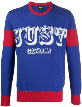 Just Cavalli Long Sleeve Block Color Logo Sweater