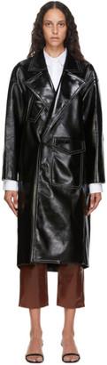 Tibi Black Patent Cocoon Coat