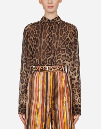 Dolce & Gabbana Georgette Shirt With Leopard Print