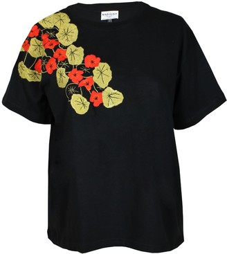 Maraina London Justine Black T-Shirt With Floral Handmade Embroidery