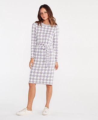 Ann Taylor Houndstooth Tie Waist Sweater Dress