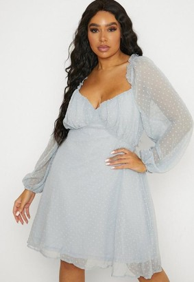 Missguided Plus Size Blue Dobby Milkmaid Dress
