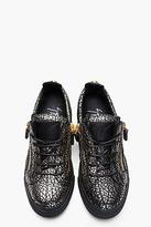 Giuseppe Zanotti Gold Crackle Leather London Sneakers