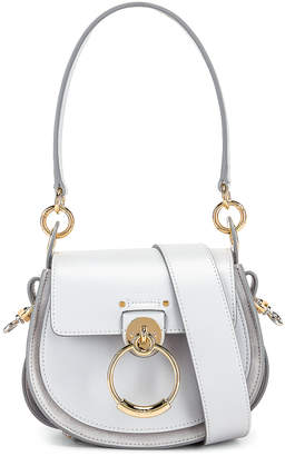 Chloé Small Tess Shiny Calfskin Shoulder Bag in Light Cloud | FWRD
