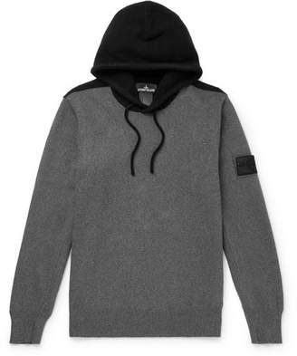 Stone Island Shadow Project Logo-Appliqued Two-Tone Knitted Hoodie