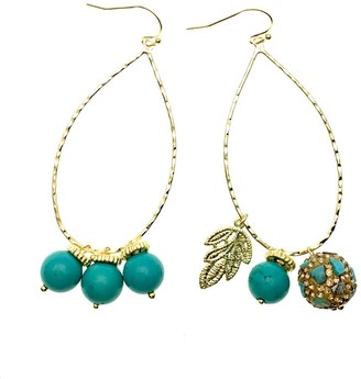Farra Turquoise Stones With Charms Hoop Earrings