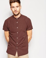 Asos Laundered Short Sleeve Shirt In Brown With Grandad Collar In Regular Fit