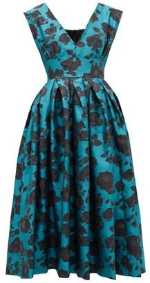 Marques Almeida Marques'almeida - Floral-brocade Midi Dress - Womens - Blue Multi