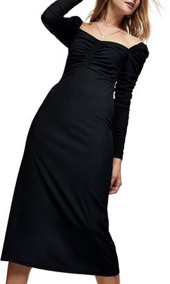 Topshop Ruched Long Sleeve Midi Dress