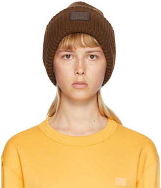 Acne Studios Brown Rib Knit Patch Beanie