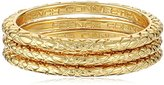 French Connection Gold 3 Textured Band Stackable Ring, Size 6