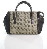 Bottega Veneta Umber Brown Canvas Logo Print Leather Trim Full Zipper Satchel Ha