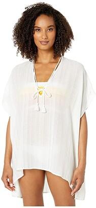 Robin Piccone Michelle Short Caftan Cover-Up (White) Women's Swimwear