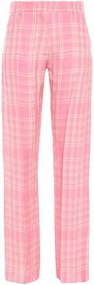 Victoria Beckham Checked Crinkled-woven Straight-leg Pants