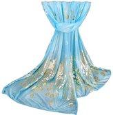 Chiffon Fashion Women Long Print Ninasill Scarf (Blue)
