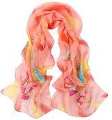 Leewa Women Butterfly Pattern Long Scarves Shawl Scarf (160 x 50cm, Orange)