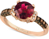 LeVian Le Vian Chocolatier® Raspberry Rhodolite® Garnet (1-3/4 ct. t.w.) and Diamond (1/4 ct. t.w.) Ring in 14k Rose Gold