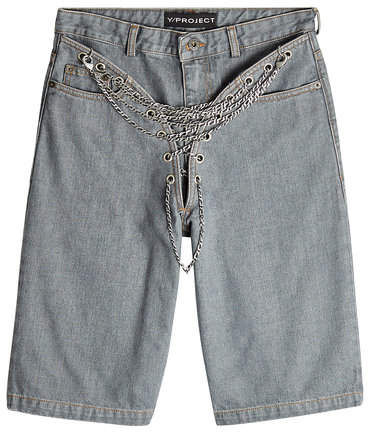 Y/Project Chain-Front Denim Shorts