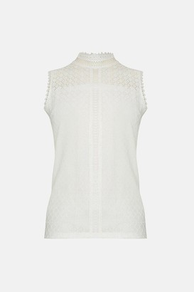 Coast High Neck Lace Trim Detail Shell Top