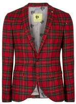 Topman NOOSE & MONKEY Red and Green Tartan Wool Suit Jacket