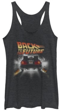 Fifth Sun Back To The Future Retro Delorean Peel Out Tri-Blend Racer Back Tank