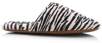 Minnie Rose Zebra Print Cashmere Slippers
