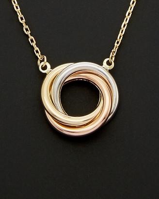 Italian Gold 14K Tri-Tone Knot Necklace