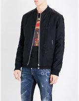 Philipp Plein Embroidered-skull wool bomber jacket