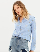 Maison Scotch Long Sleeve Shirt With All-Over Embroideries